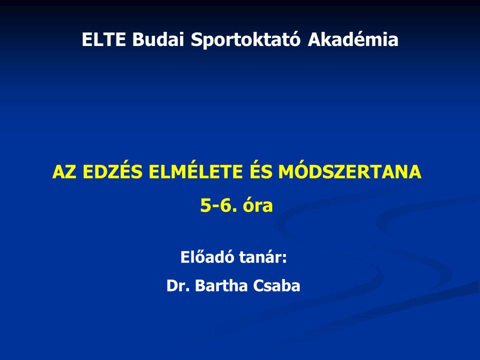 ELTE Budai Sportoktató Akadémia AZ EDZÉS ELMÉLETE ÉS MÓDSZERTANA 5-6. óra Előadó tanár: Dr. Bartha Csaba