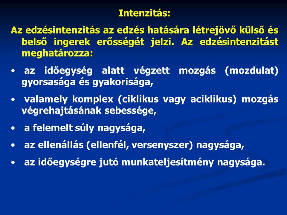 Intenzitás: Az edzésintenzitás az edzés hatására létrejövő külső és belső ingerek erősségét jelzi. Az edzésintenzitást meghatározza: az időegység alat