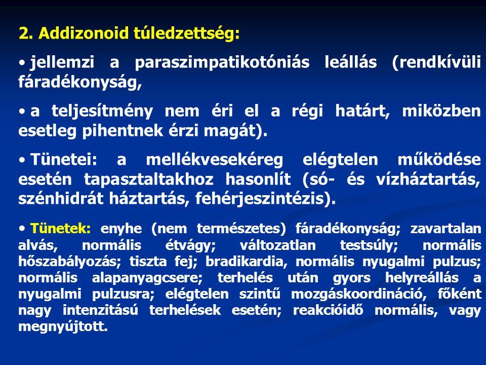 2. Addizonoid túledzettség: jellemzi a paraszimpatikotóniás leállás (rendkívüli fáradékonyság, a teljesítmény nem éri el a régi határt, miközben esetl