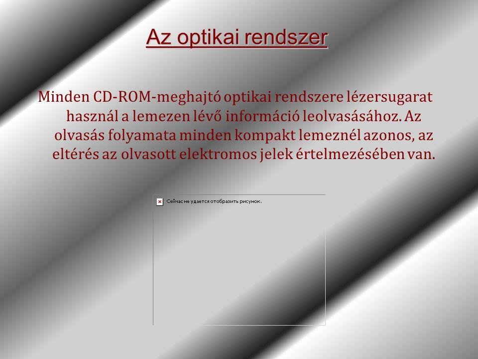 Az optikai rendszer Minden CD-ROM-meghajtó optikai rendszere lézersugarat használ a lemezen lévő információ leolvasásához. Az olvasás folyamata minden