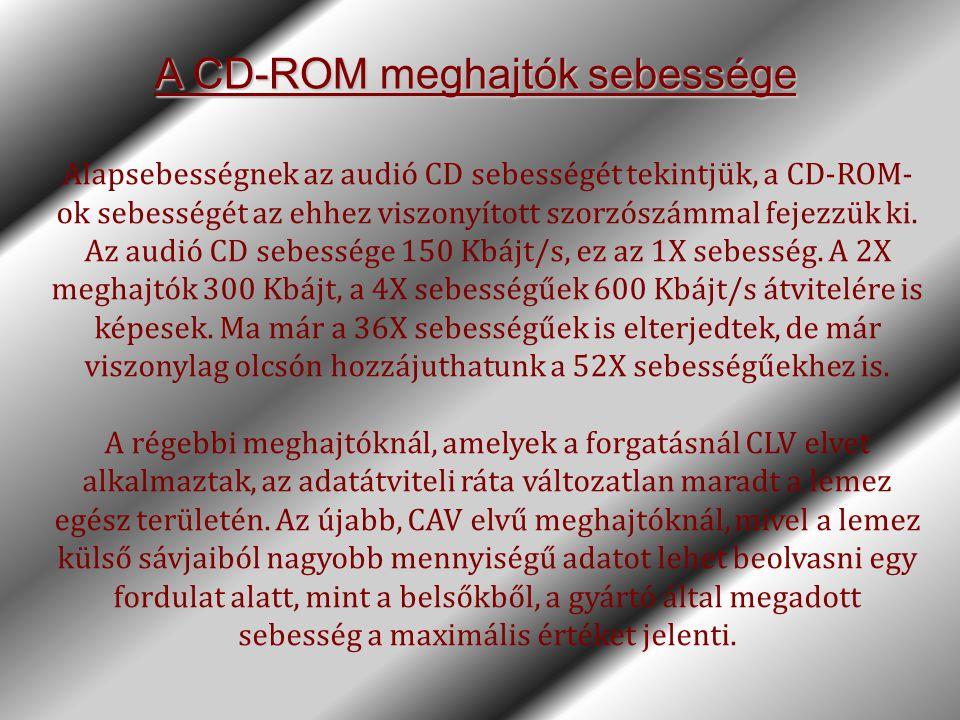 A CD-ROM meghajtók sebessége Alapsebességnek az audió CD sebességét tekintjük, a CD-ROM- ok sebességét az ehhez viszonyított szorzószámmal fejezzük ki
