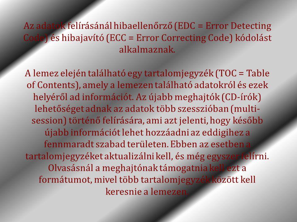Az adatok felírásánál hibaellenőrző (EDC = Error Detecting Code) és hibajavító (ECC = Error Correcting Code) kódolást alkalmaznak. A lemez elején talá