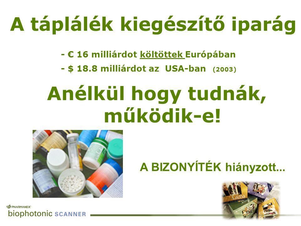 Anélkül hogy tudnák, működik-e! PROOF A táplálék kiegészítő iparág A BIZONYÍTÉK hiányzott... - € 16 milliárdot költöttek Európában - $ 18.8 milliárdot