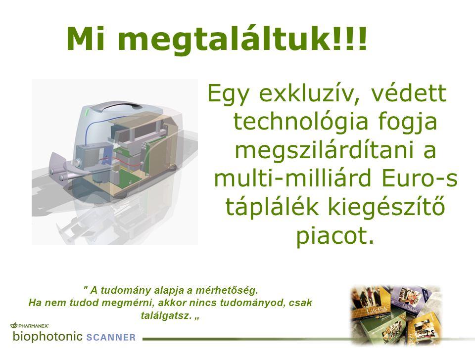 Egy exkluzív, védett technológia fogja megszilárdítani a multi-milliárd Euro-s táplálék kiegészítő piacot. 15
