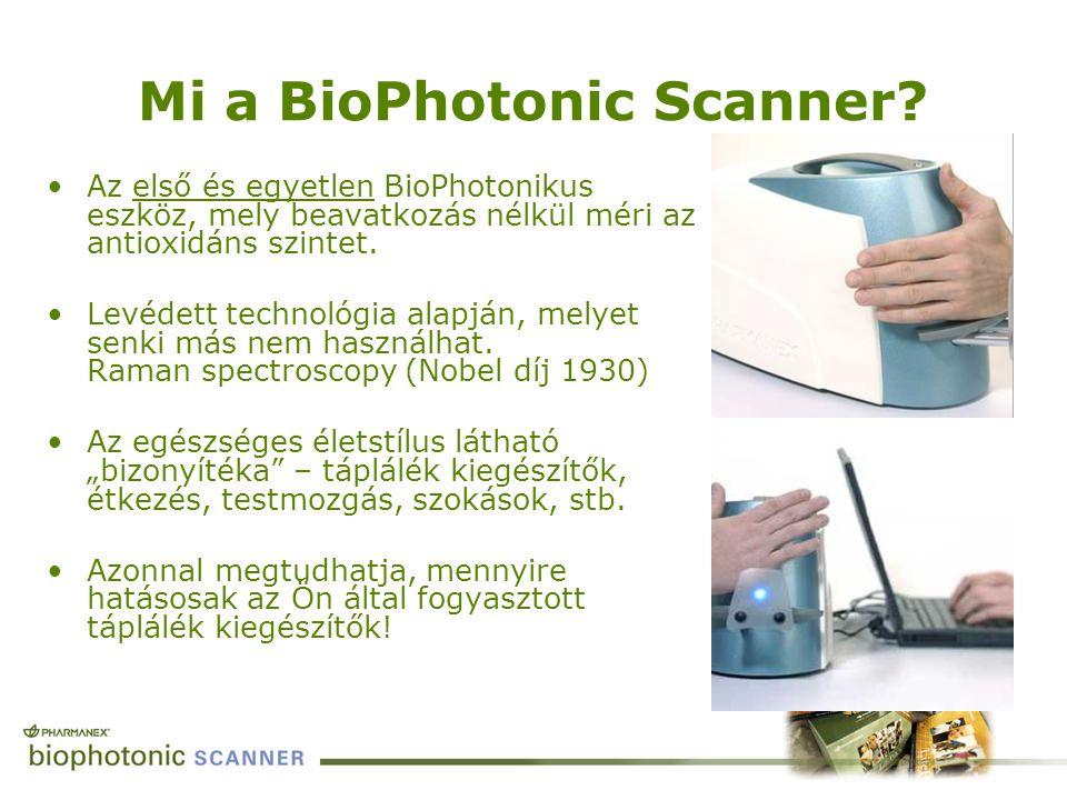 Mi a BioPhotonic Scanner? Az első és egyetlen BioPhotonikus eszköz, mely beavatkozás nélkül méri az antioxidáns szintet. Levédett technológia alapján,
