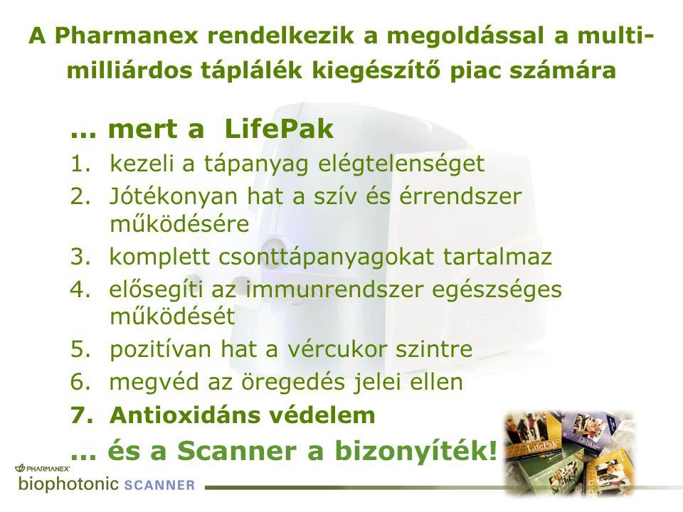 A Pharmanex rendelkezik a megoldással a multi- milliárdos táplálék kiegészítő piac számára... mert a LifePak 1.kezeli a tápanyag elégtelenséget 2.Jóté