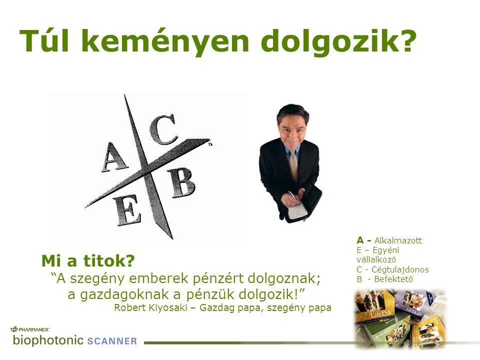 """A - Alkalmazott E – Egyéni vállalkozó C - Cégtulajdonos B - Befektető Túl keményen dolgozik? Mi a titok? """"A szegény emberek pénzért dolgoznak; a gazda"""