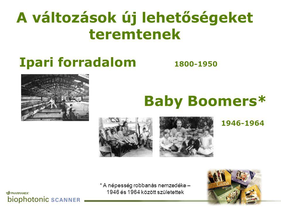 Ipari forradalom 1800-1950 Baby Boomers* 1946-1964 A változások új lehetőségeket teremtenek * A népesség robbanás nemzedéke – 1946 és 1964 között szül