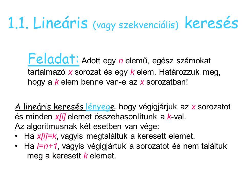 1.1. Lineáris (vagy szekvenciális) keresés Feladat: Adott egy n elemű, egész számokat tartalmazó x sorozat és egy k elem. Határozzuk meg, hogy a k ele