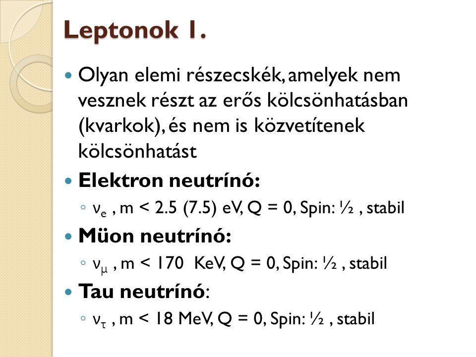 Leptonok 1. Olyan elemi részecskék, amelyek nem vesznek részt az erős kölcsönhatásban (kvarkok), és nem is közvetítenek kölcsönhatást Elektron neutrín