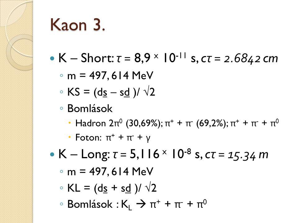 Kaon 3. K – Short: τ = 8,9 x 10 -11 s, c τ = 2.6842 cm ◦ m = 497, 614 MeV ◦ KS = (ds – sd )/ √2 ◦ Bomlások  Hadron 2 π 0 (30,69%); π + + π - (69,2%);