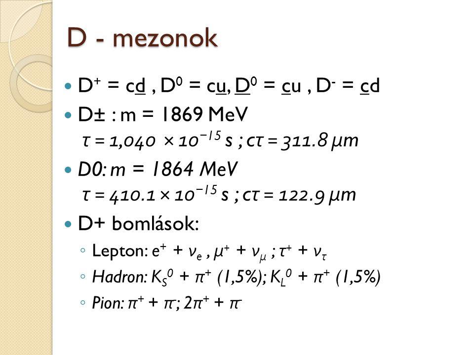 D - mezonok D + = cd, D 0 = cu, D 0 = cu, D - = cd D± : m = 1869 MeV τ = 1,040 × 10 − 15 s ; c τ = 311.8 μ m D0: m = 1864 MeV τ = 410.1 × 10 − 15 s ;