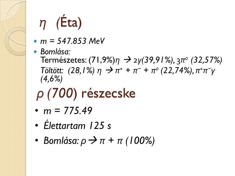 η (Éta) m = 547.853 MeV Bomlása: Természetes: (71,9%) η  2 γ (39,91%), 3 π 0 (32,57%) Töltött: (28,1%) η  π + + π − + π 0 (22,74%), π + π − γ (4,6%)