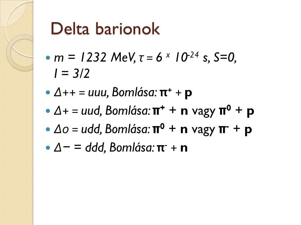 Delta barionok m = 1232 MeV, τ = 6 x 10 -24 s, S=0, I = 3/2 Δ ++ = uuu, Bomlása: π + + p Δ + = uud, Bomlása: π + + n vagy π 0 + p Δ 0 = udd, Bomlása: