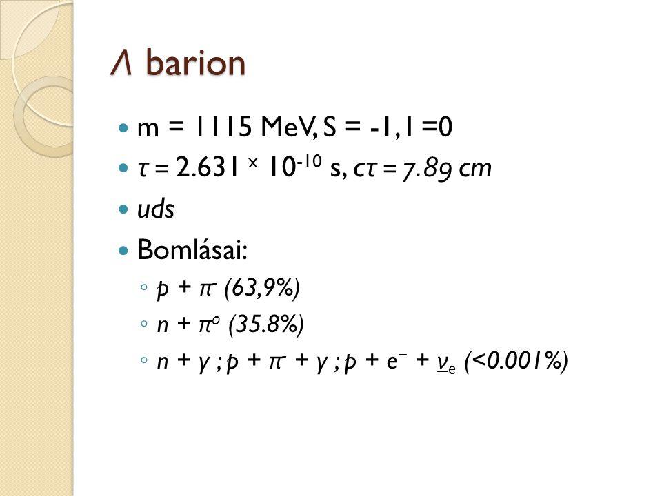 Λ barion m = 1115 MeV, S = -1, I =0 τ = 2.631 x 10 -10 s, c τ = 7.89 cm uds Bomlásai: ◦ p + π - (63,9%) ◦ n + π 0 (35.8%) ◦ n + γ ; p + π - + γ ; p +