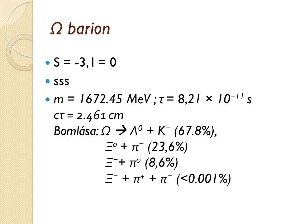 Ω barion S = -3, I = 0 sss m = 1672.45 MeV ; τ = 8,21 × 10 − 11 s c τ = 2.461 cm Bomlása: Ω  Λ 0 + K − (67.8%), Ξ 0 + π − (23,6%) Ξ − + π 0 (8,6%) Ξ
