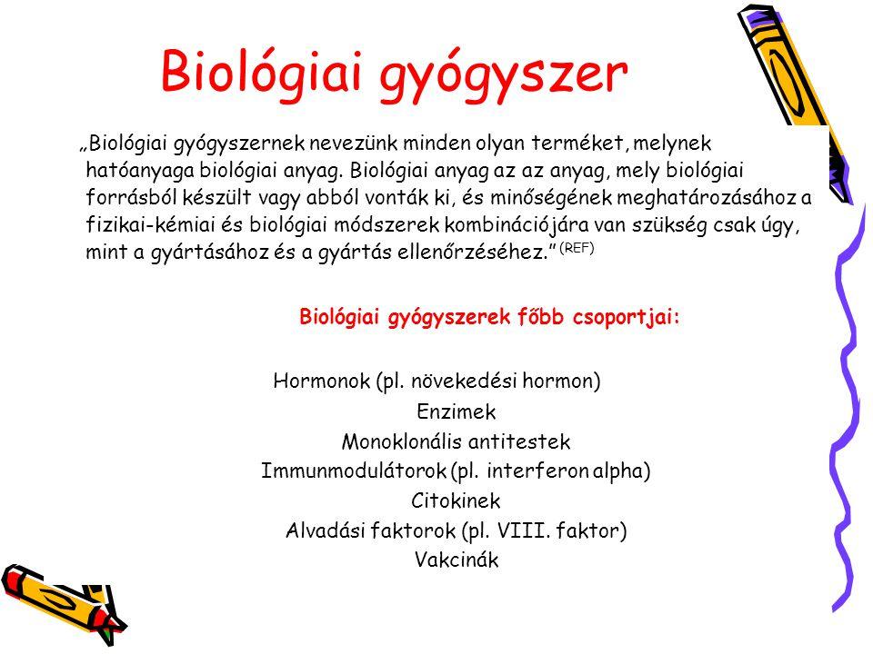 """Biológiai gyógyszer """"Biológiai gyógyszernek nevezünk minden olyan terméket, melynek hatóanyaga biológiai anyag. Biológiai anyag az az anyag, mely biol"""