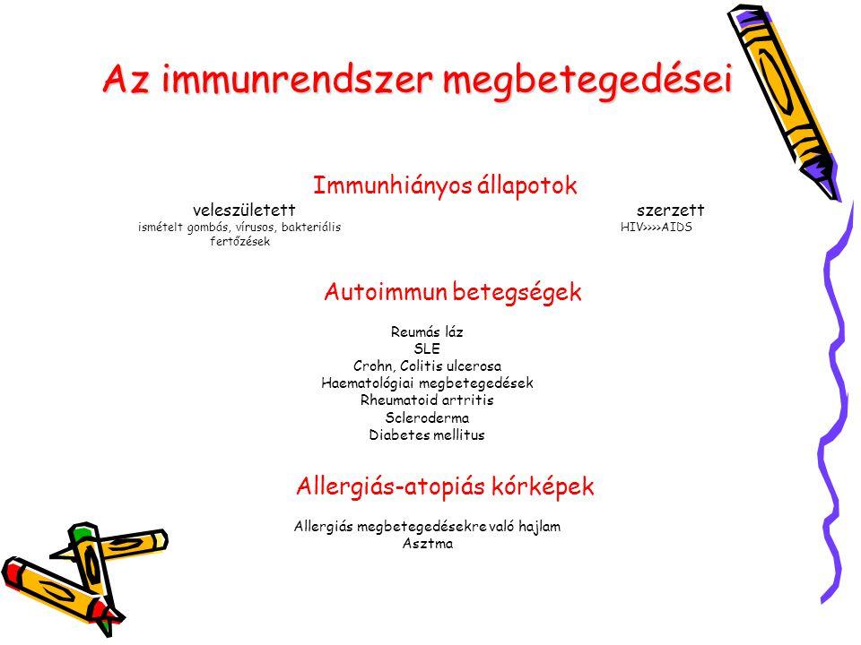 Az immunrendszer megbetegedései Immunhiányos állapotok veleszületett szerzett ismételt gombás, vírusos, bakteriális HIV>>>>AIDS fertőzések Autoimmun b