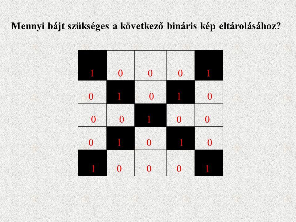 10001 0 1 01 0 0 01 0 0 0 1 0 1 0 10 0 0 1 Mennyi bájt szükséges a következő bináris kép eltárolásához?