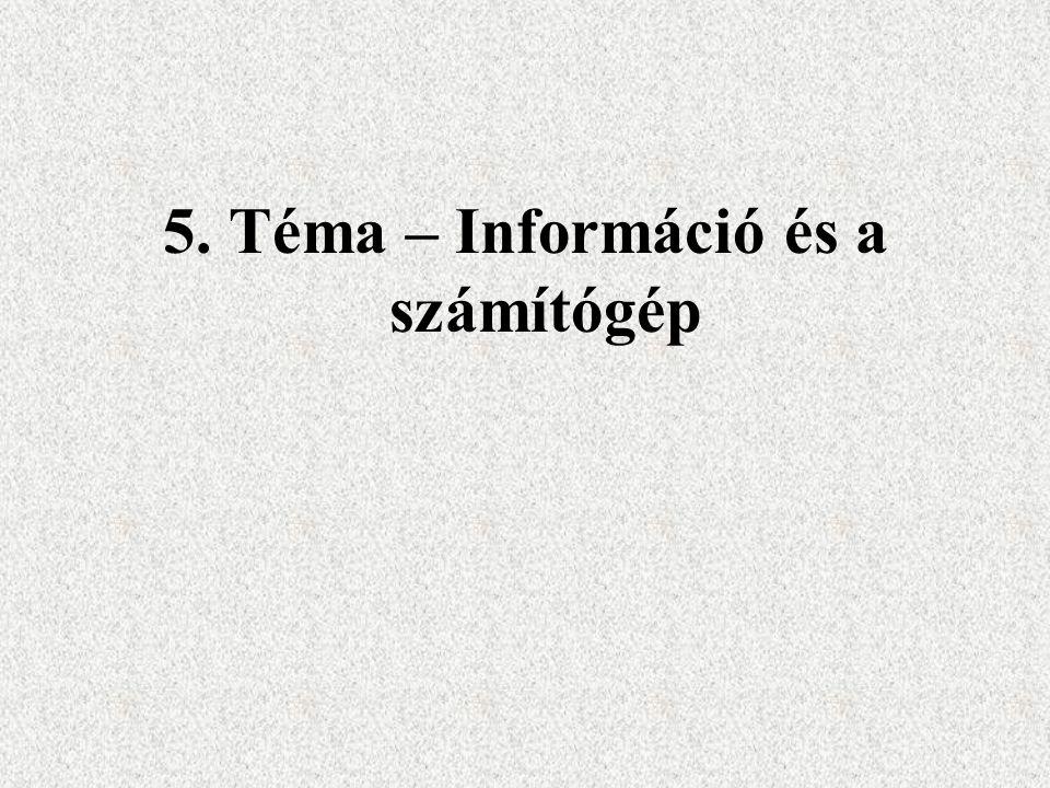 5. Téma – Információ és a számítógép