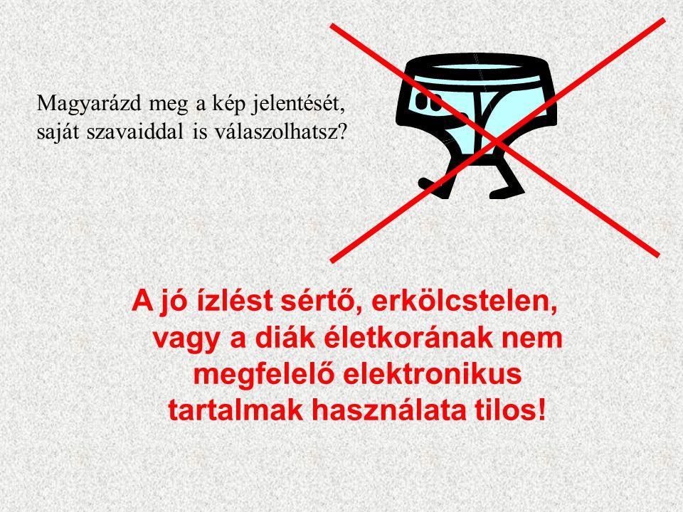 A jó ízlést sértő, erkölcstelen, vagy a diák életkorának nem megfelelő elektronikus tartalmak használata tilos! Magyarázd meg a kép jelentését, saját