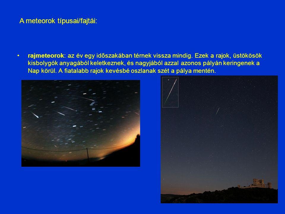 rajmeteorok: az év egy időszakában térnek vissza mindig. Ezek a rajok, üstökösök kisbolygók anyagából keletkeznek, és nagyjából azzal azonos pályán ke