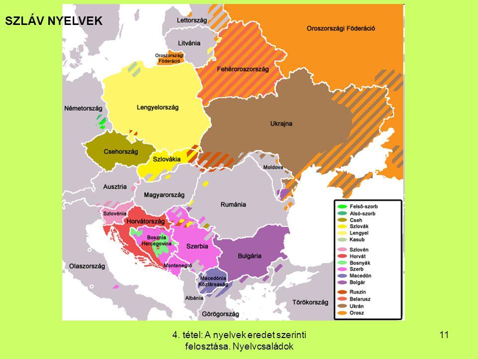 4. tétel: A nyelvek eredet szerinti felosztása. Nyelvcsaládok 11 SZLÁV NYELVEK