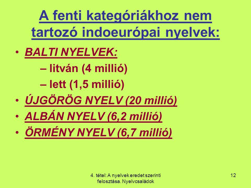 4.tétel: A nyelvek eredet szerinti felosztása.
