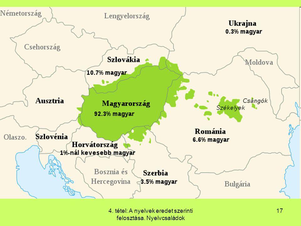 4. tétel: A nyelvek eredet szerinti felosztása. Nyelvcsaládok 17