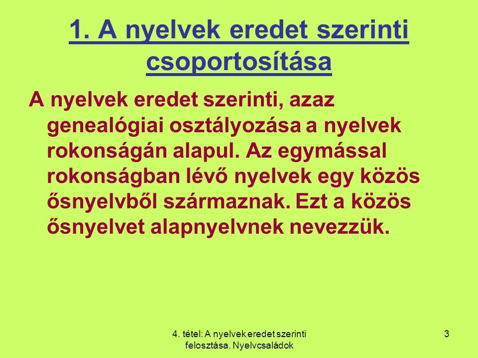 4.tétel: A nyelvek eredet szerinti felosztása. Nyelvcsaládok 3 1.