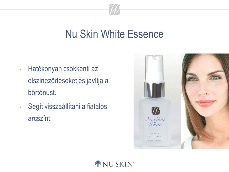 Nu Skin White Essence  Hatékonyan csökkenti az elszíneződéseket és javítja a bőrtónust.  Segít visszaállítani a fiatalos arcszínt.