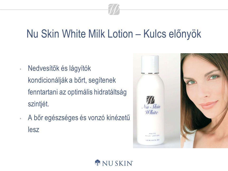 Nu Skin White Milk Lotion – Kulcs előnyök  Nedvesítők és lágyítók kondicionálják a bőrt, segítenek fenntartani az optimális hidratáltság szintjét. 