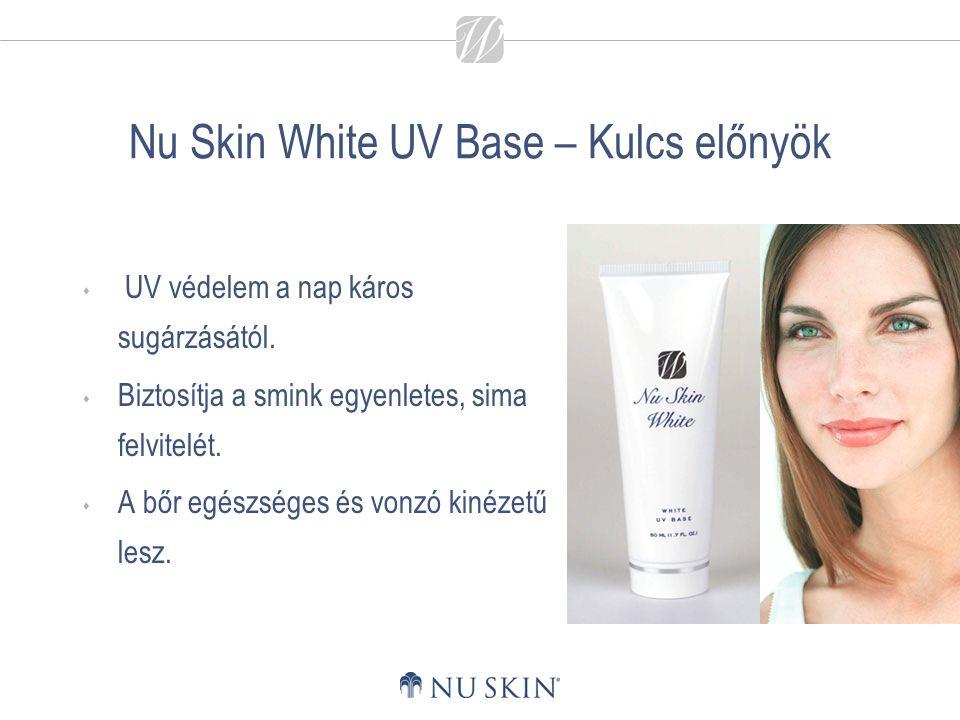 Nu Skin White UV Base – Kulcs előnyök  UV védelem a nap káros sugárzásától.  Biztosítja a smink egyenletes, sima felvitelét.  A bőr egészséges és v
