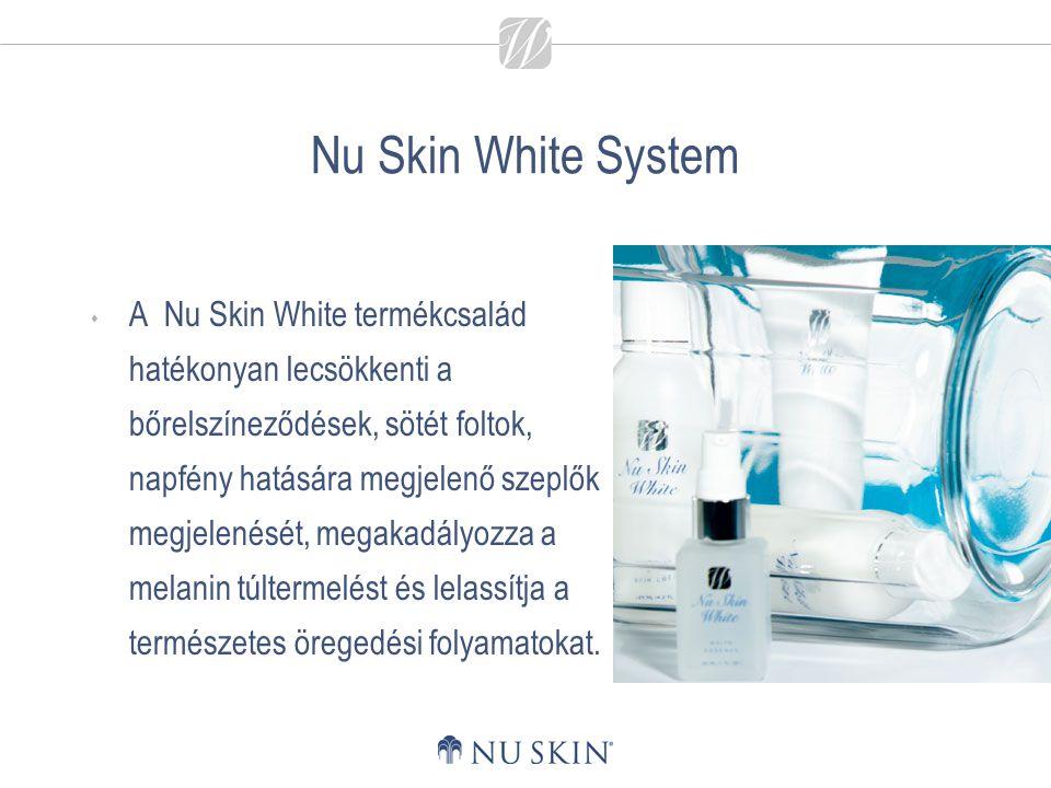 Nu Skin White System  A Nu Skin White termékcsalád hatékonyan lecsökkenti a bőrelszíneződések, sötét foltok, napfény hatására megjelenő szeplők megje