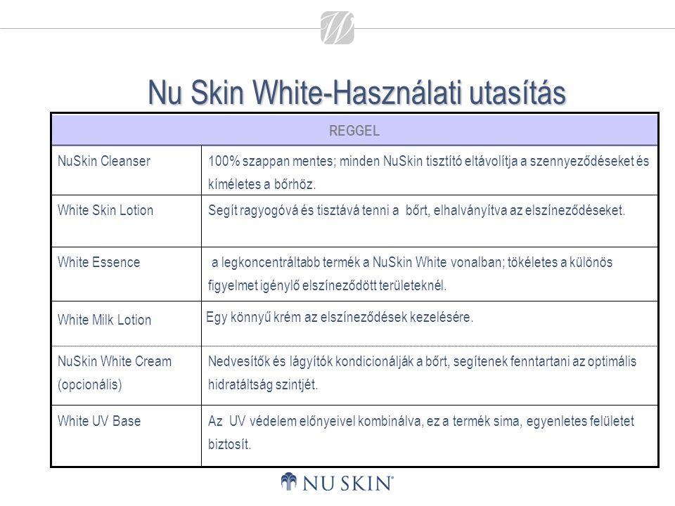 Nu Skin White-Használati utasítás Az UV védelem előnyeivel kombinálva, ez a termék sima, egyenletes felületet biztosít. Nedvesítők és lágyítók kondici