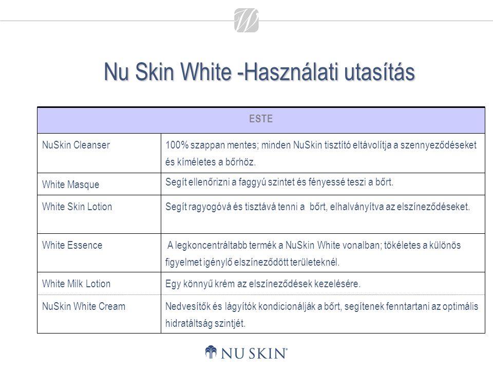 Nu Skin White -Használati utasítás Nedvesítők és lágyítók kondicionálják a bőrt, segítenek fenntartani az optimális hidratáltság szintjét. Egy könnyű