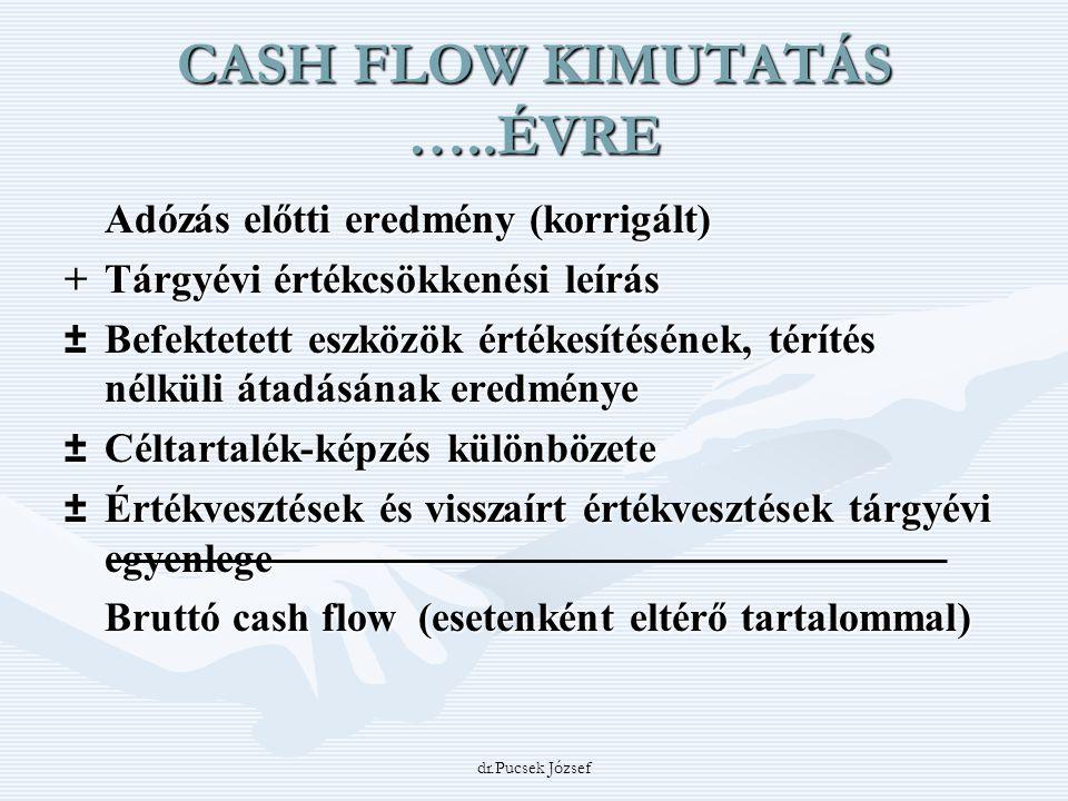 dr.Pucsek József CASH FLOW KIMUTATÁS …..ÉVRE Adózás előtti eredmény (korrigált) +Tárgyévi értékcsökkenési leírás ±Befektetett eszközök értékesítésének
