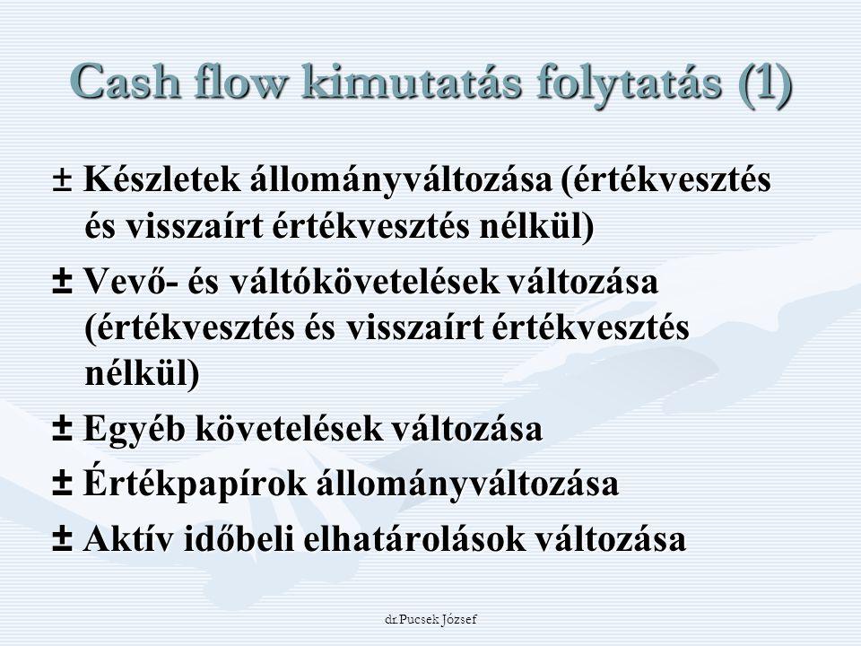 dr.Pucsek József Cash flow kimutatás folytatás (1) ± Készletek állományváltozása (értékvesztés és visszaírt értékvesztés nélkül) ± Vevő- és váltókövet
