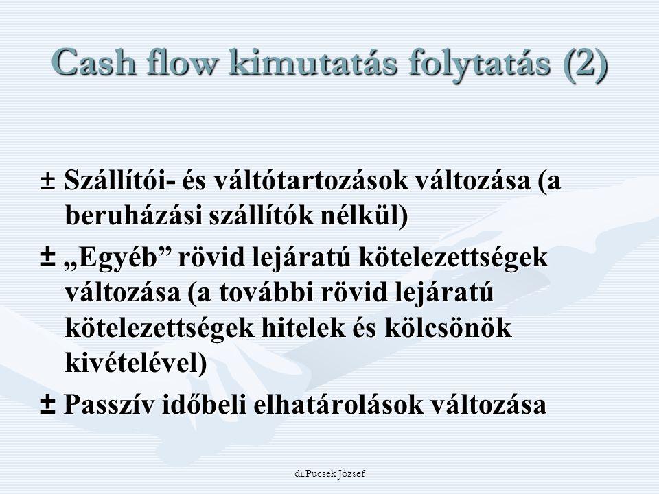 """dr.Pucsek József Cash flow kimutatás folytatás (2) ± Szállítói- és váltótartozások változása (a beruházási szállítók nélkül) ± """"Egyéb"""" rövid lejáratú"""