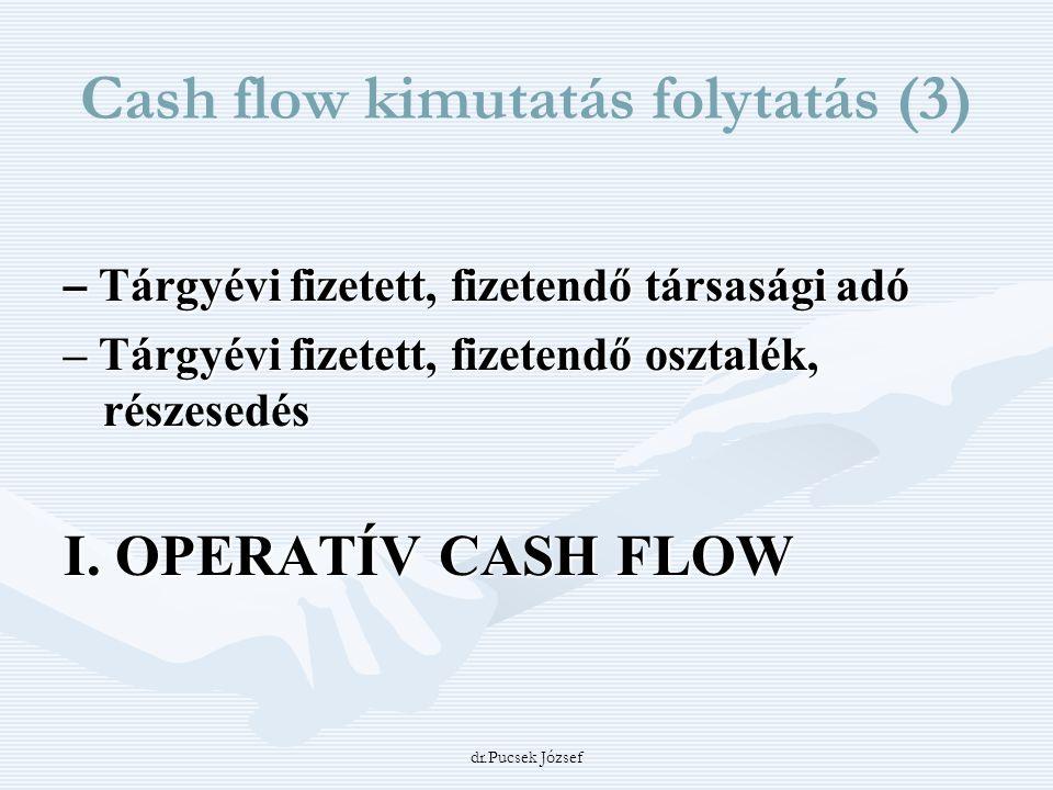 dr.Pucsek József Cash flow kimutatás folytatás (3) – Tárgyévi fizetett, fizetendő társasági adó – Tárgyévi fizetett, fizetendő osztalék, részesedés I.