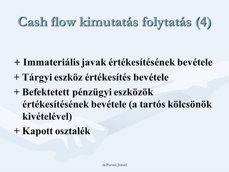 dr.Pucsek József Cash flow kimutatás folytatás (4) + Immateriális javak értékesítésének bevétele + Tárgyi eszköz értékesítés bevétele + Befektetett pé