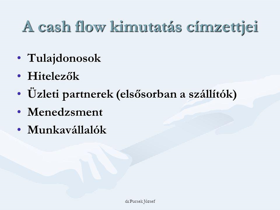 dr.Pucsek József A cash flow kimutatás címzettjei TulajdonosokTulajdonosok HitelezőkHitelezők Üzleti partnerek (elsősorban a szállítók)Üzleti partnere