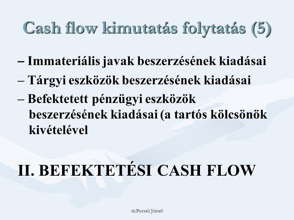 dr.Pucsek József Cash flow kimutatás folytatás (5) – Immateriális javak beszerzésének kiadásai – Tárgyi eszközök beszerzésének kiadásai – Befektetett