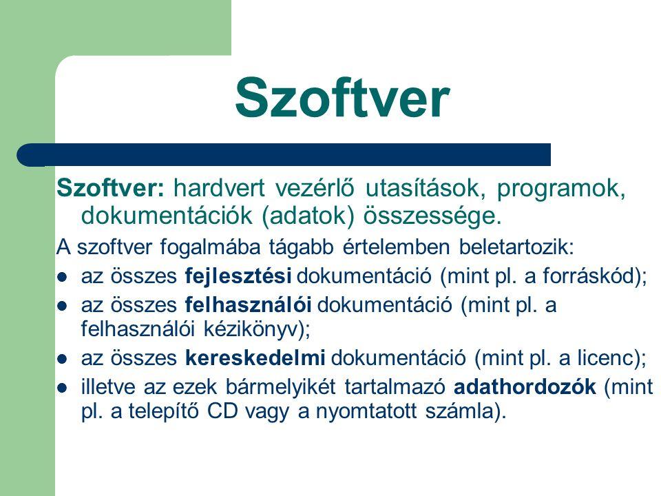 Szoftver Szoftver: hardvert vezérlő utasítások, programok, dokumentációk (adatok) összessége. A szoftver fogalmába tágabb értelemben beletartozik: az