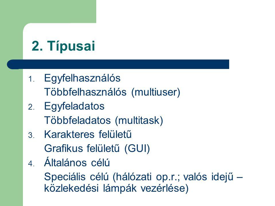 2.Típusai 1. Egyfelhasználós Többfelhasználós (multiuser) 2.