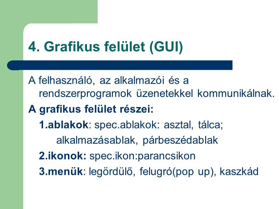 4. Grafikus felület (GUI) A felhasználó, az alkalmazói és a rendszerprogramok üzenetekkel kommunikálnak. A grafikus felület részei: 1.ablakok: spec.ab
