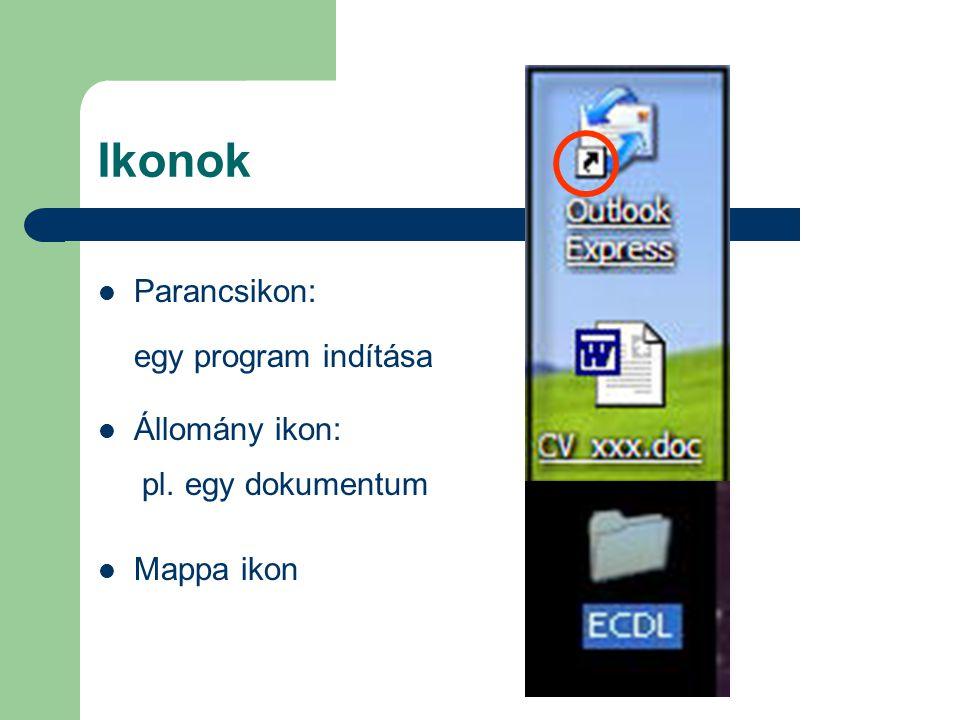 Ikonok Parancsikon: egy program indítása Állomány ikon: pl. egy dokumentum Mappa ikon