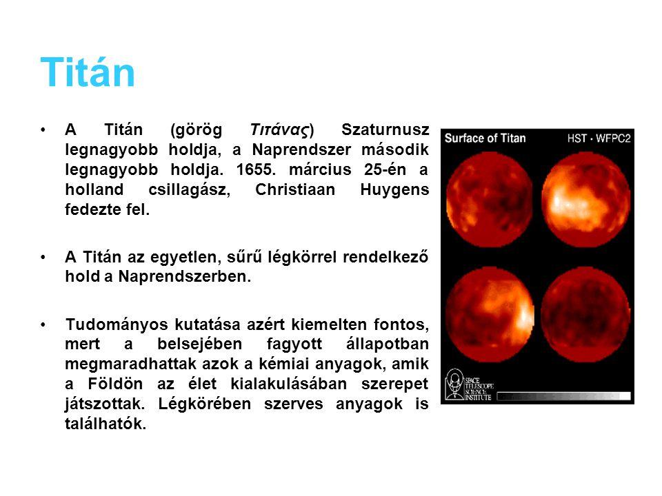 Holdak Legtöbb hold, 18-nak van neve Legnagyobb: Titán Négy hold átmérője: 1000 km felett van (1060 - 1530 km) nyolcnak az átmérője 80 és 500 km közöt