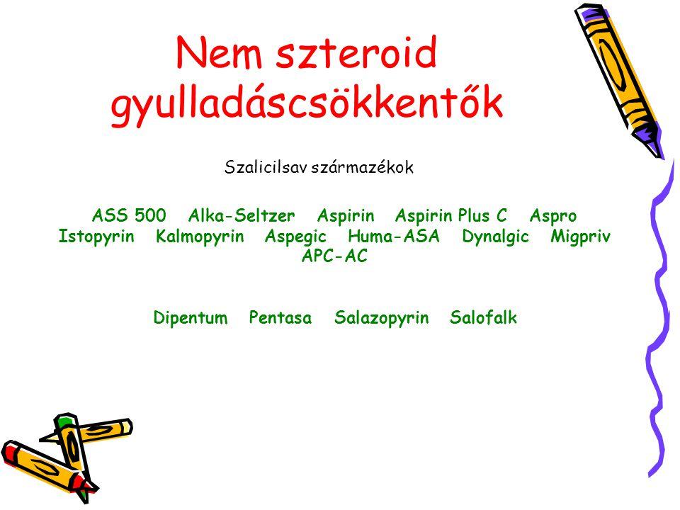 Nem szteroid gyulladáscsökkentők Szalicilsav származékok ASS 500 Alka-Seltzer Aspirin Aspirin Plus C Aspro Istopyrin Kalmopyrin Aspegic Huma-ASA Dynal