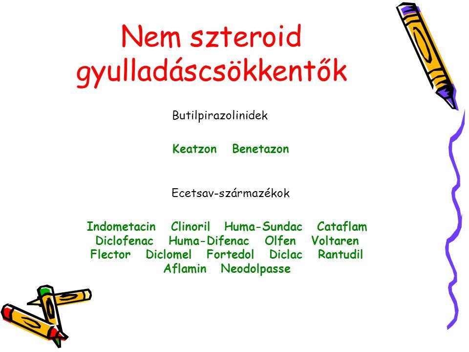 Nem szteroid gyulladáscsökkentők Butilpirazolinidek Keatzon Benetazon Indometacin Clinoril Huma-Sundac Cataflam Diclofenac Huma-Difenac Olfen Voltaren